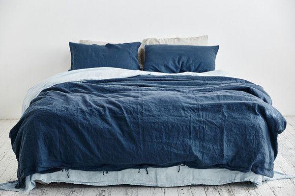 100% Linen Duvet Cover in Indigo   Bettwaesche, Schlafzimmer und ...
