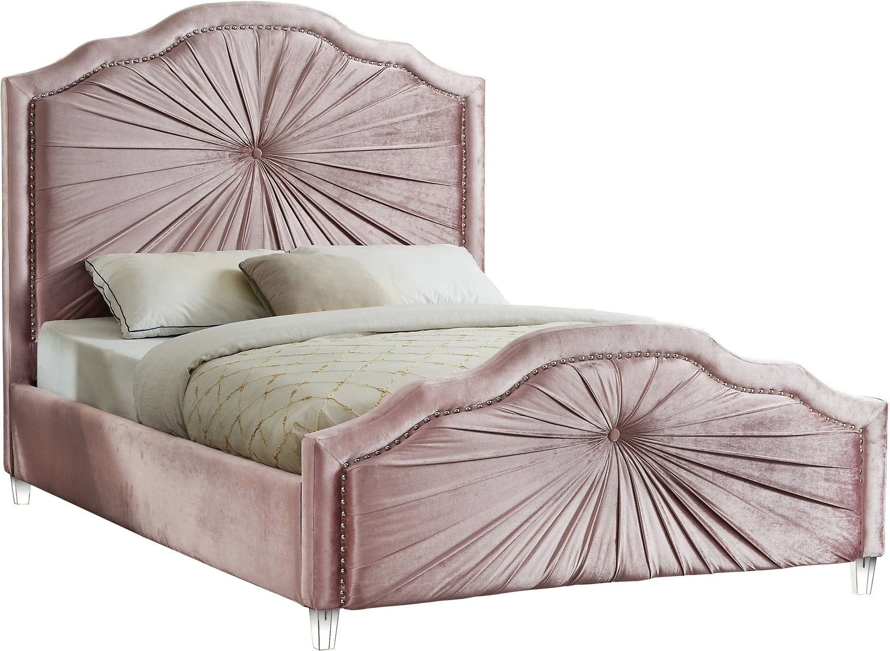 Rosie Pink Queen Size Bed In 2020 Velvet Upholstered Bed Meridian Furniture Velvet Bed