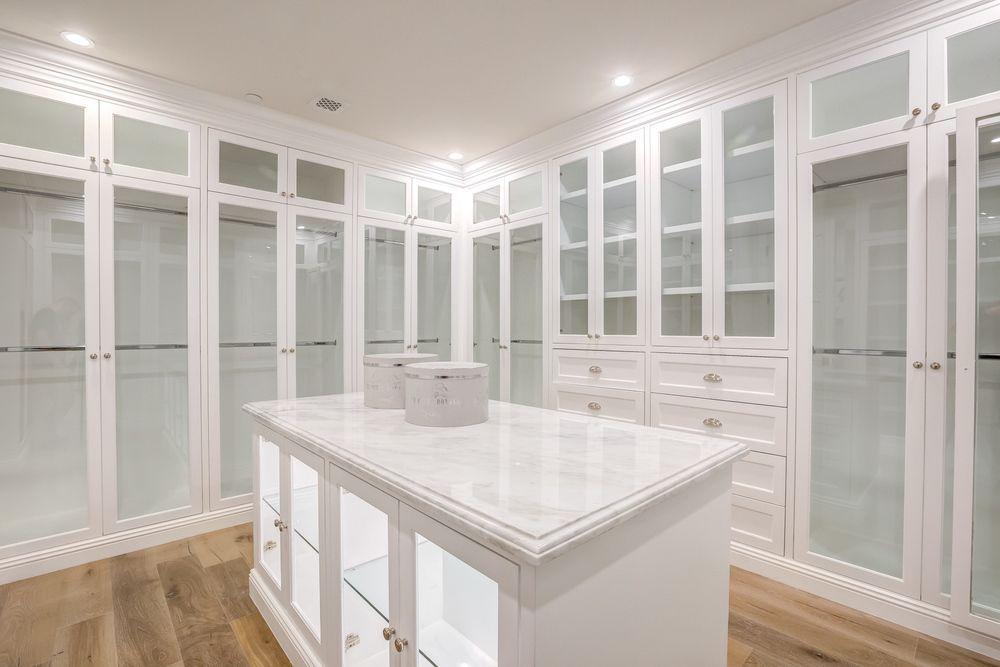 Traditional Closet With Built In Bookshelf, Hardwood Floors, California  Closets Custom Closet, Crown Molding, Inset Cabinets