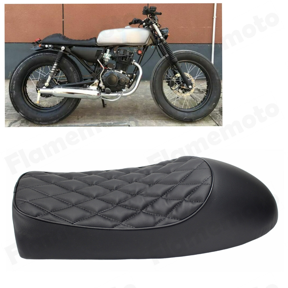 (69.95$)  Watch now - http://aiggm.worlditems.win/all/product.php?id=32631338973 - Motorcycle Accessories Black Cafe Racer Vintage Saddle Hump Custom Seat For Honda CL350 CL450 CB400F