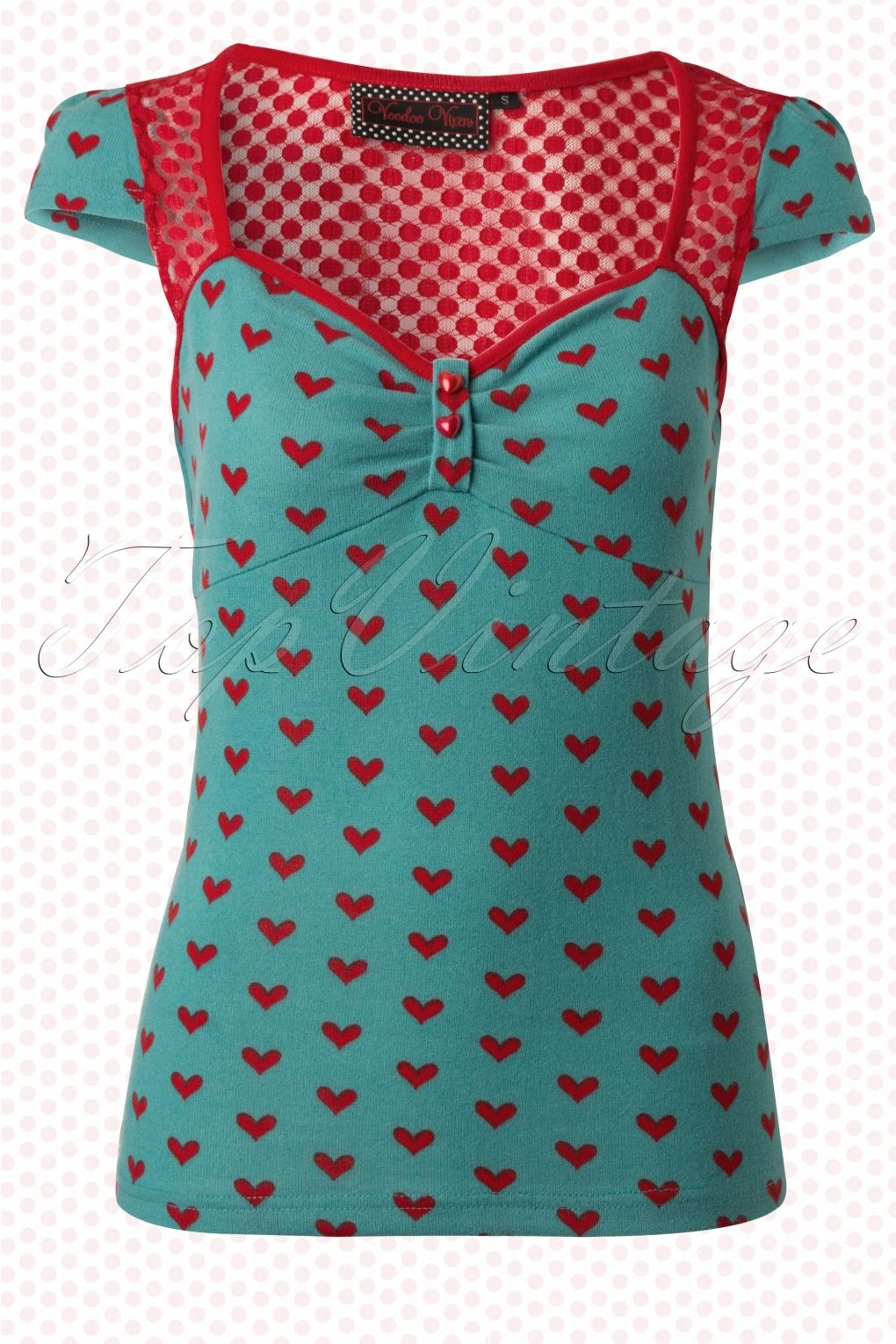 7c7f0ee63148a6 Blue Belle Vintage Top with Hearts | Rockabilly and Vintage clothing ...