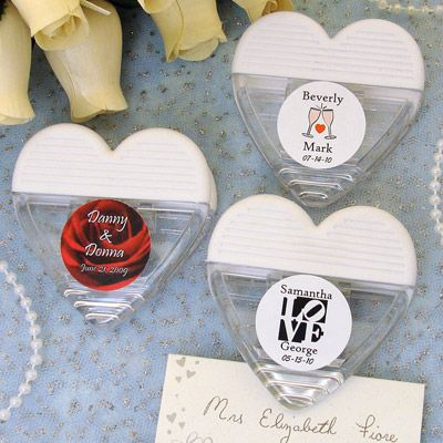Personalized Heart Shaped Magnetic Memo Wedding Clip Favors PER 6716 WEDDING WP