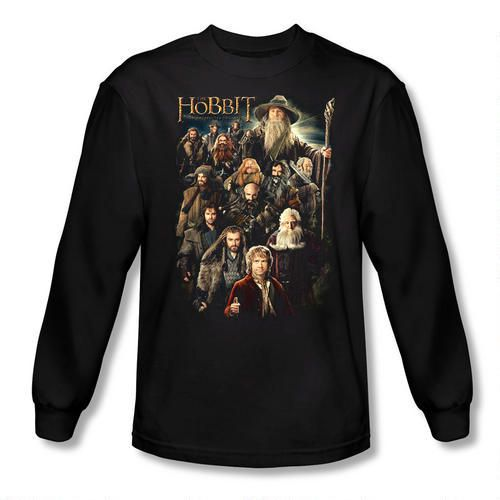eceb62a8c38 The Hobbit  An Unexpected Journey Somber Company Long Sleeve Adult Black Tee