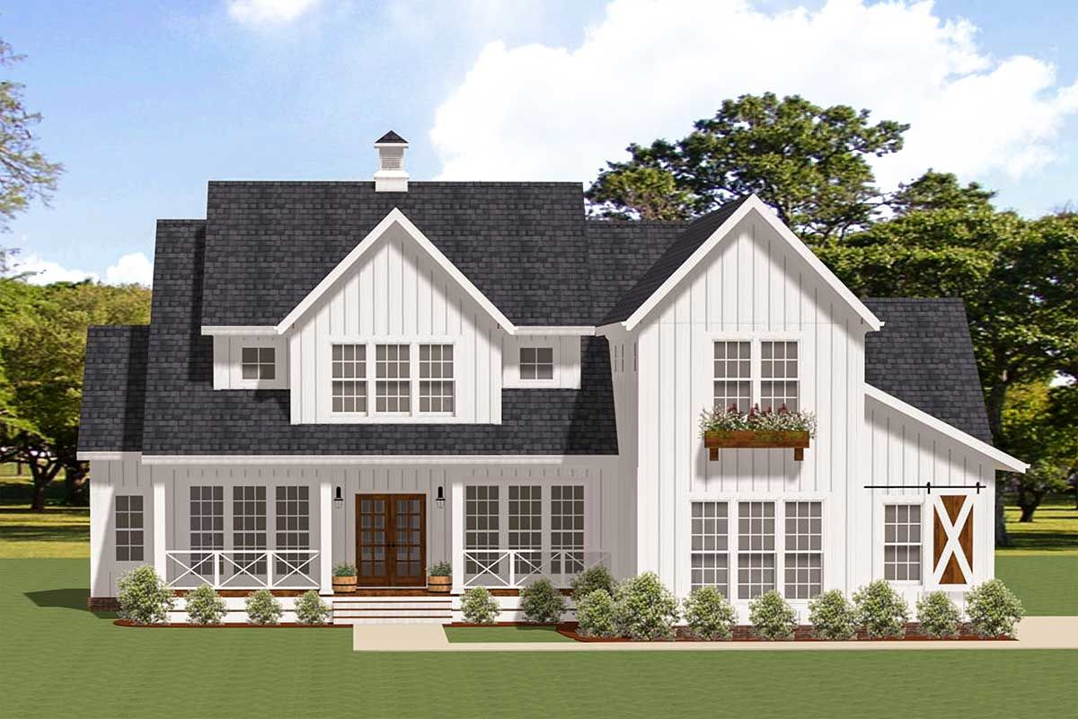 Plan 46359la Modern Farmhouse With Ample Outdoor