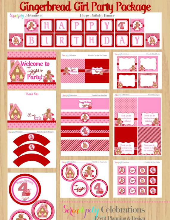 Gingerbread Girl Printable Party Package Products Pinterest
