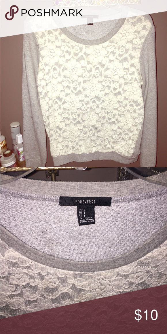 Grey Lace Sweater Super comfy grey Lace sweater! Forever 21 Sweaters Crew & Scoop Necks