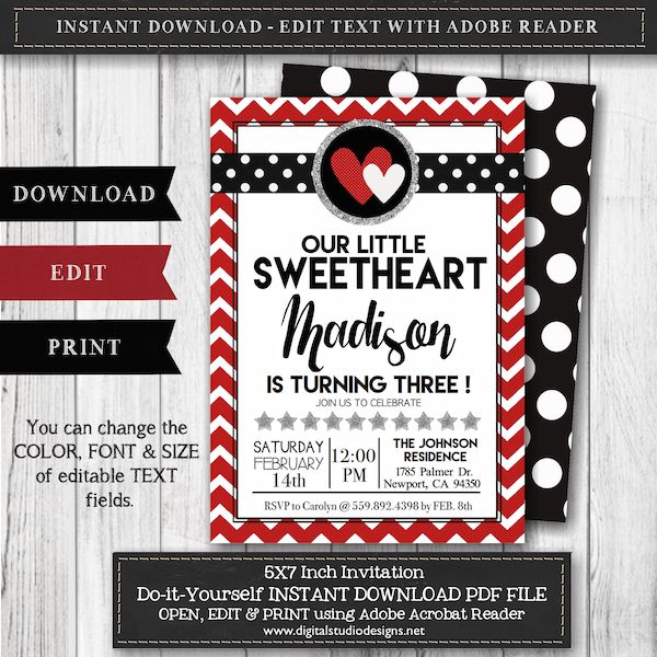 Valentine\u0027s Day Birthday Invitation \u2013 Our Little Sweethearts