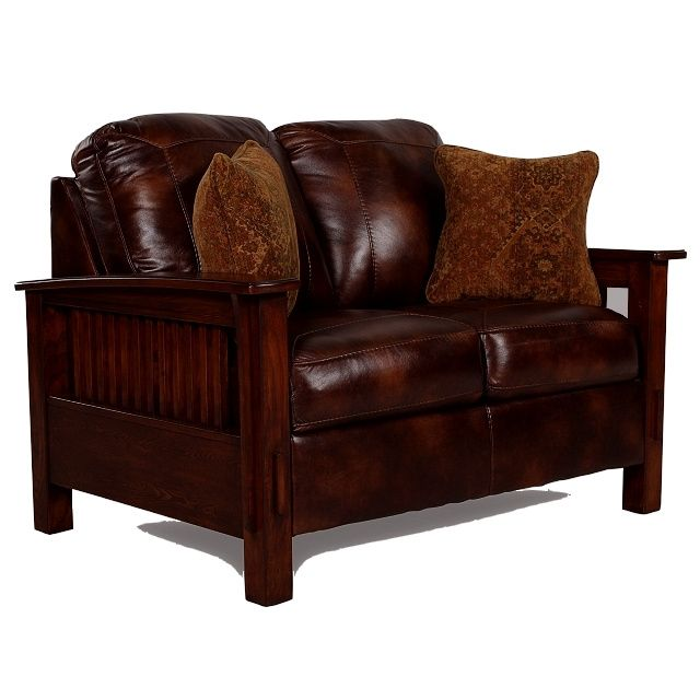 Mission Craftsman Morris Leather Loveseat Furniture Lights