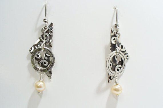 Akimbo Sterling Silver & Pearl Dangle by JewelryLindsayMudge, $120.00