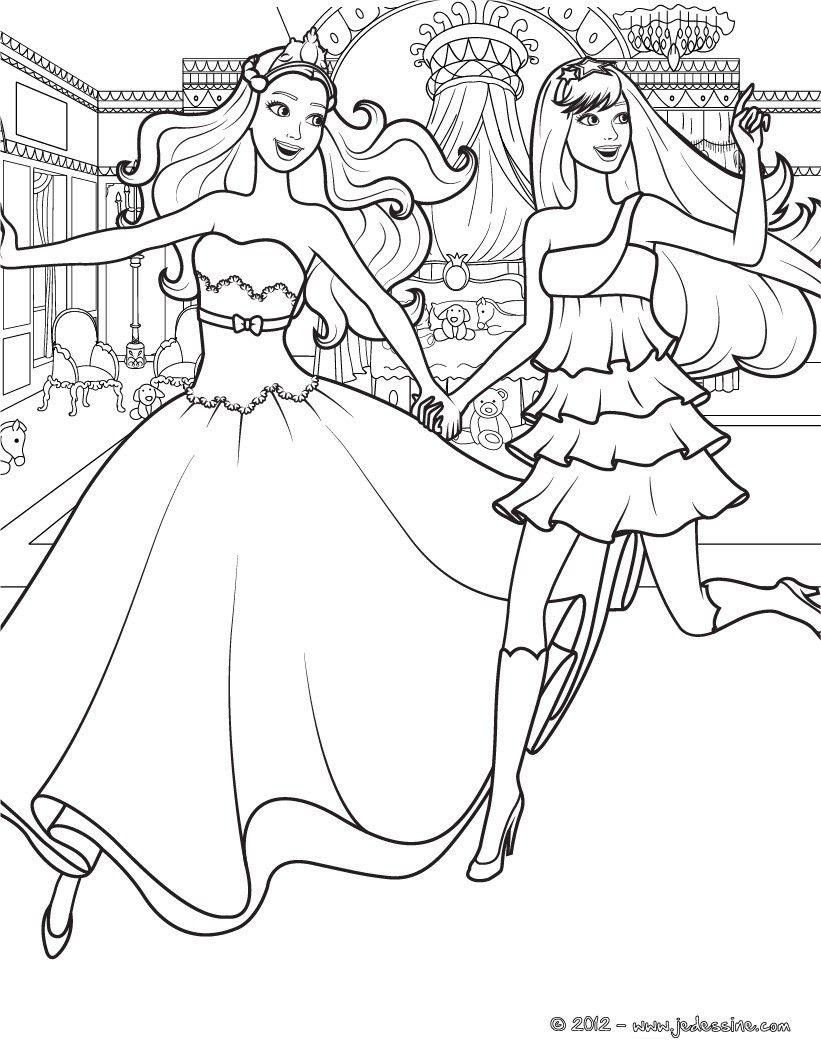 Coloriage Barbie princesse et son amie popstar qui cours. À