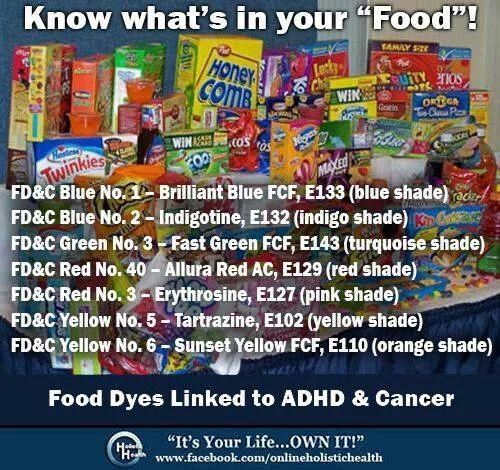 Food dyes linked to ADHD & Cancer. They also aggrevate my ...