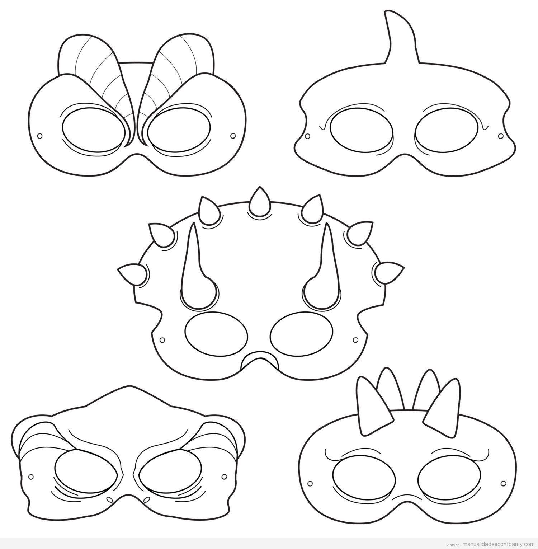 Patrón o molde de máscaras de dinosaurios para hacer con goma eva ...