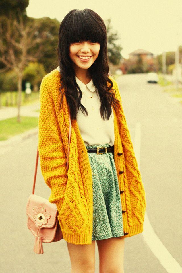 I love this sweater/skirt combo!