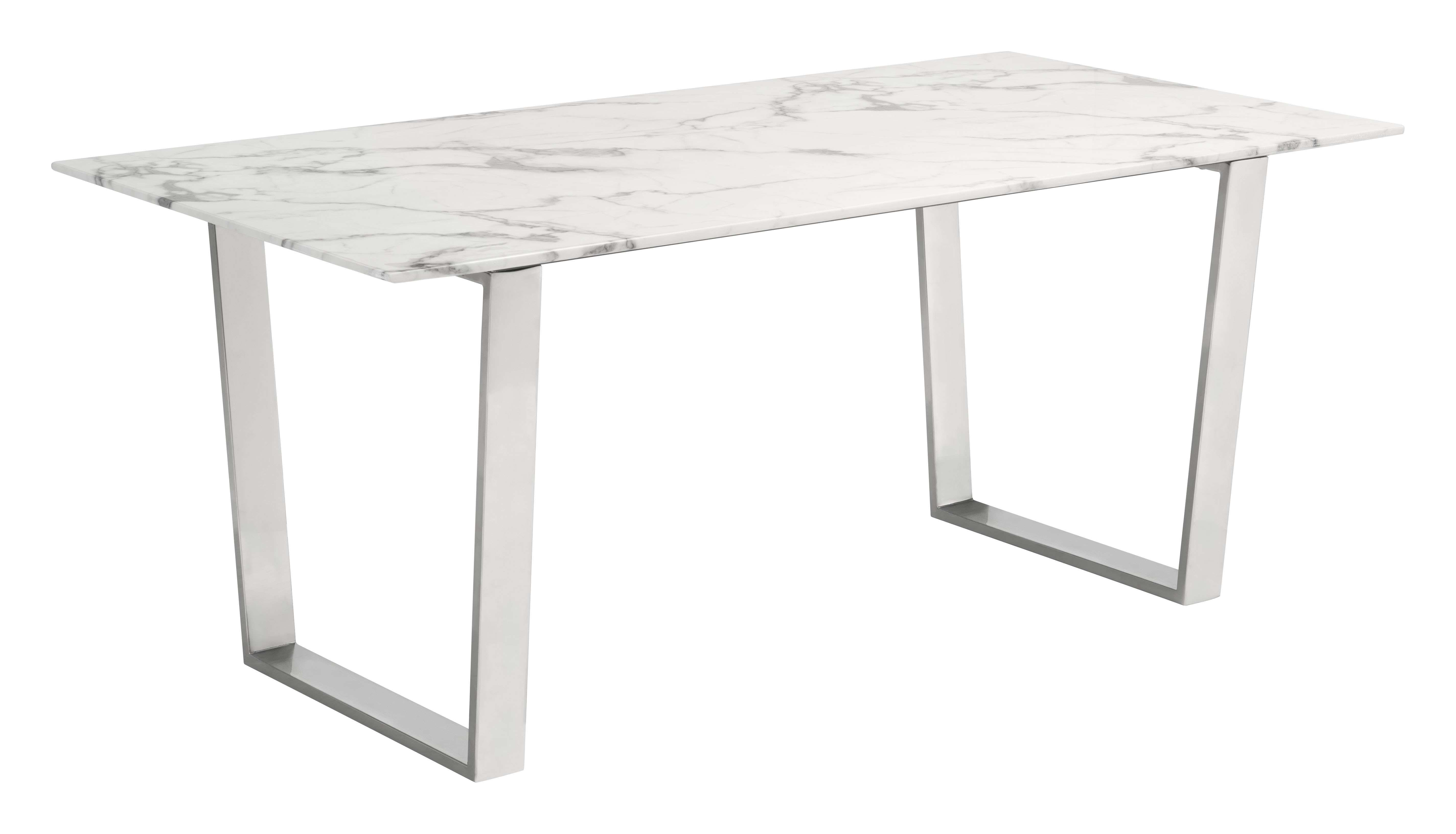 Zuo Modern Atlas Stone Stainless Steel Dining Table Reviews