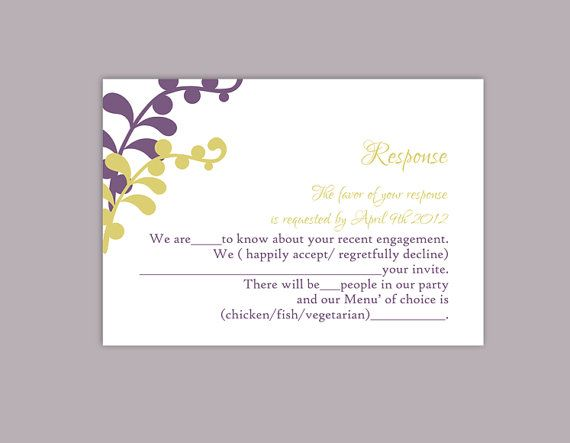 DIY Wedding RSVP Template Editable Text Word File Download Printable RSVP  Cards Leaf Rsvp Violet Rsvp  Party Rsvp Template