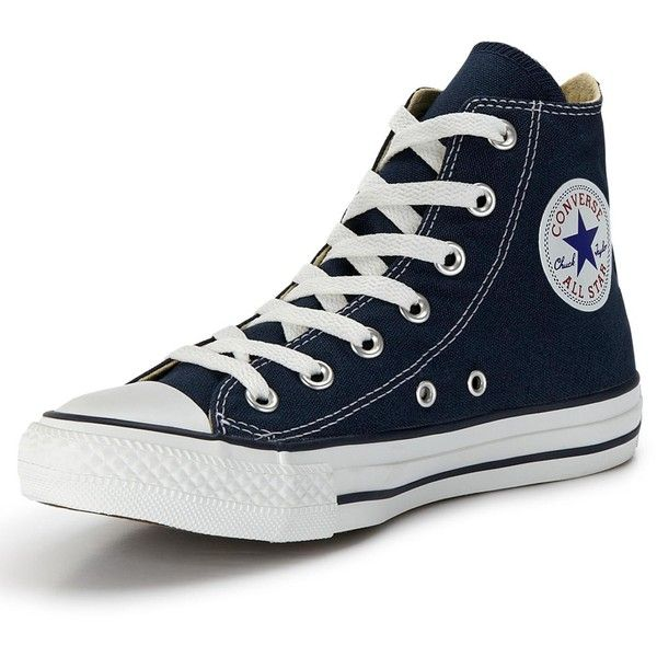 Converse Chuck Taylor All Stars Hi Top Plimsolls (£50) ❤ liked on Polyvore featuring shoes, sneakers, high top canvas sneakers, lace up sneakers, converse shoes, retro high top sneakers and navy sneakers