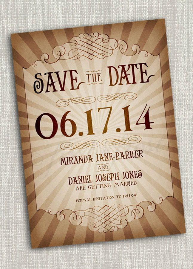Love the burst of rays and the vintage feel  Vintage Style Save the Date Printable Card - Wedding Bridal Announcement Steampunk