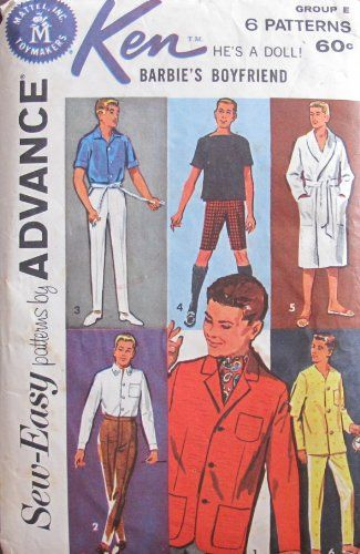 Barbie KEN Sew Easy Fashions PATTERNS by ADVANCE - Group E (1962 ...