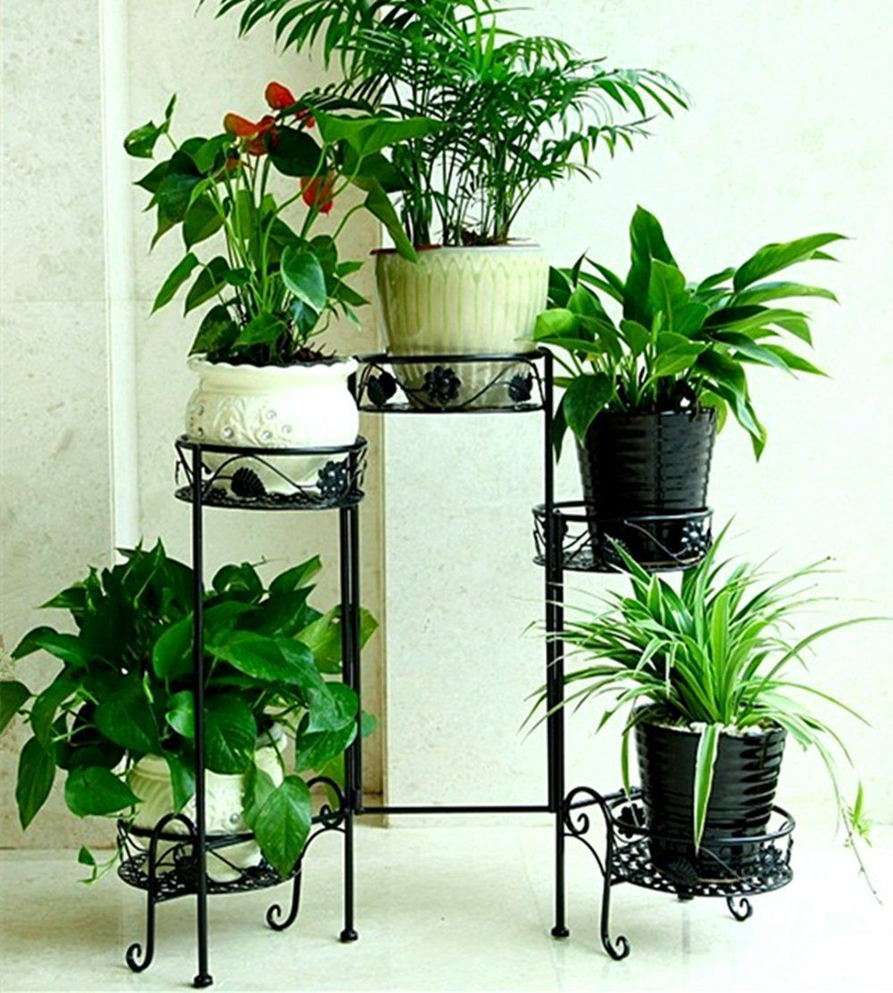 5Tiered Folding Scroll Plant Stand Black