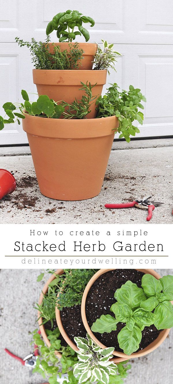 Photo of Stacked Herb Garden #apartmentgardening Learn how to create a Rental friendly St…
