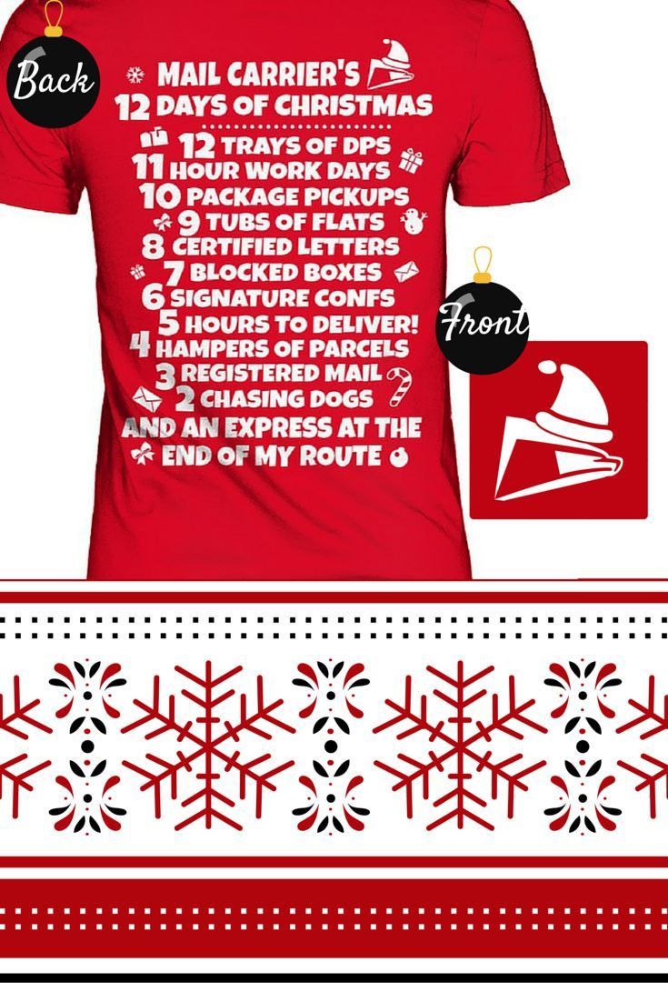 Christmas postal worker tee shirt mail carriers 12 days
