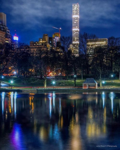 Central Park & 432 Park Avenue at night -