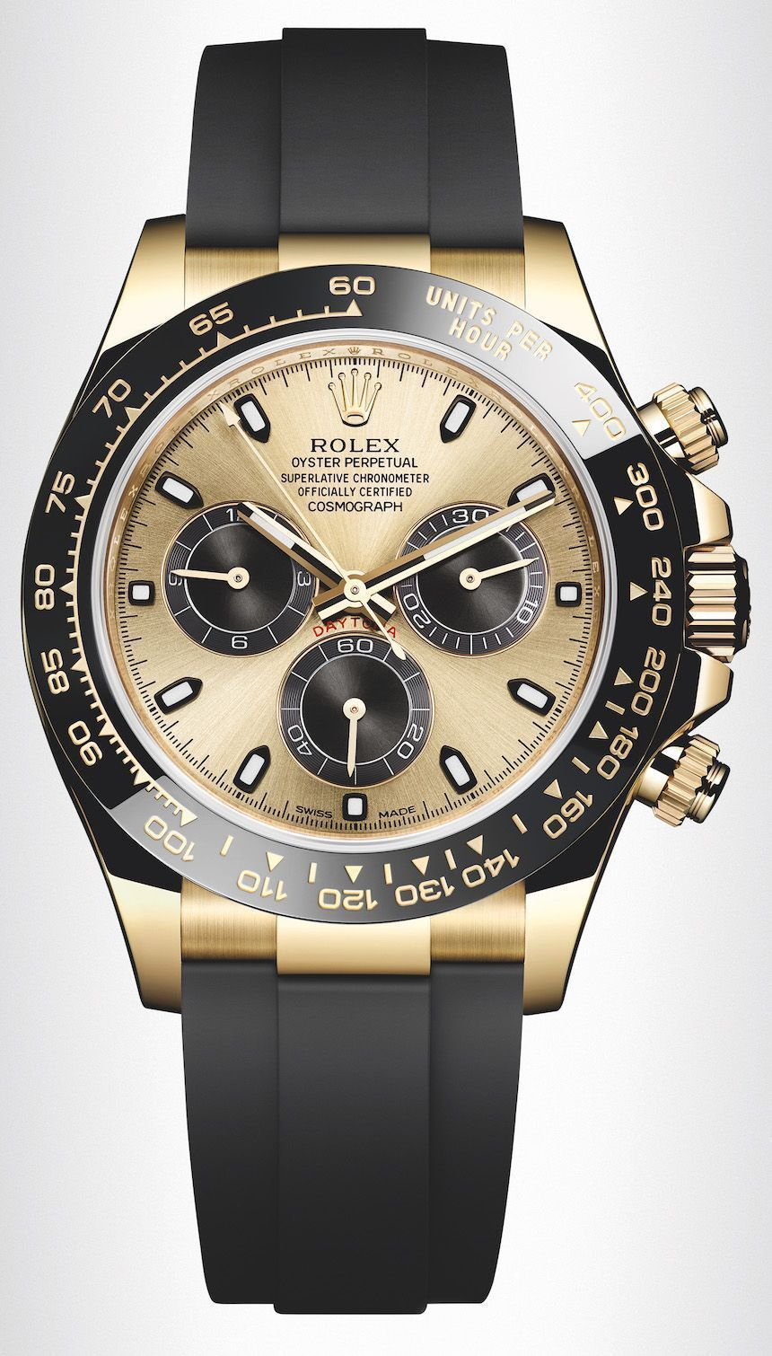 8aa3b62a8a7 New Rolex Cosmograph Daytona Watches In Gold With Oysterflex Rubber Strap  and Ceramic Bezel For 2017 Quality watches from around the wold at  fantastic ...