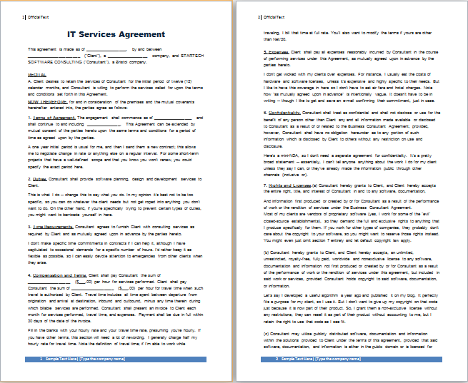 IT services agreement template at freeagreementtemplates – Service Agreement Template Free