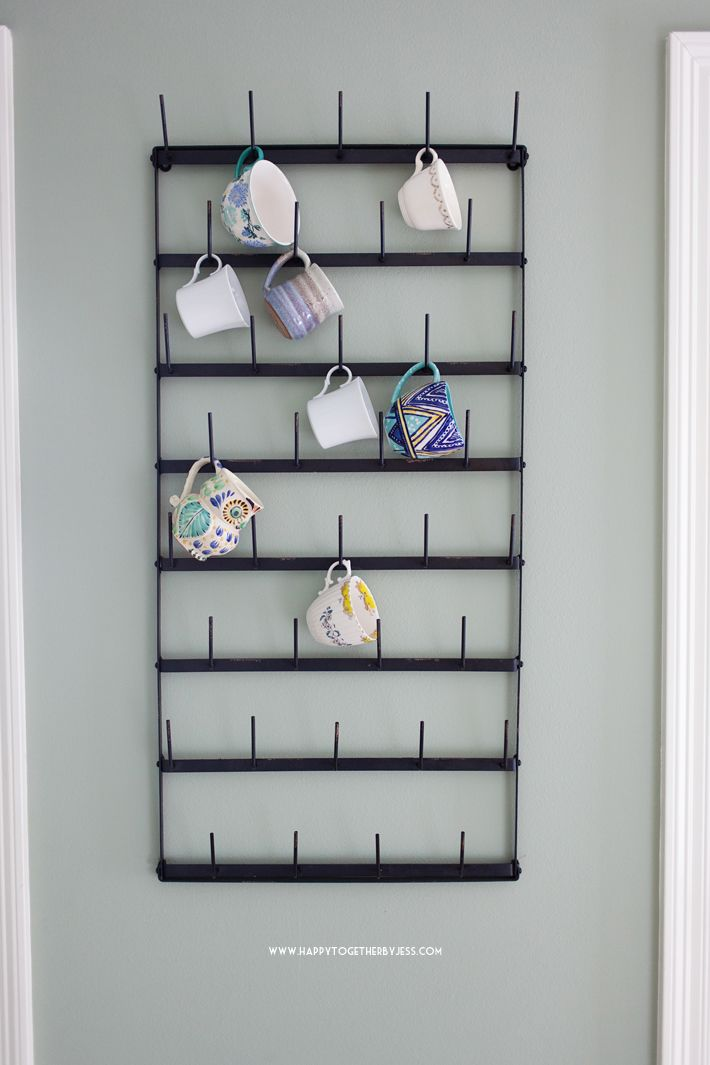 Love this cup rack. To display my favorite mugs. #coffeemuglife A Kitchen Nook Makeover