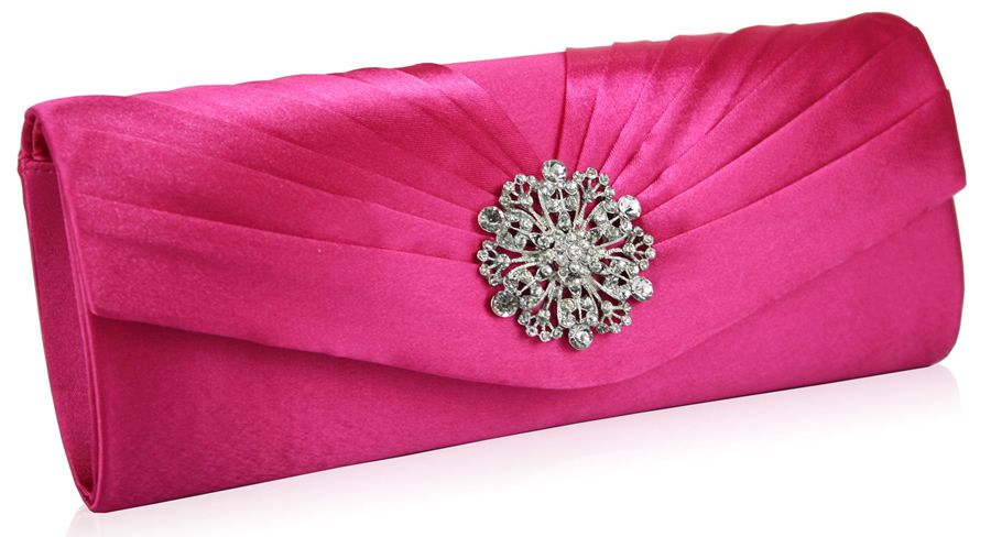 Fuschia Pink Clutch | Fuschia Pink Satin Evening Clutch Bag (356 ...