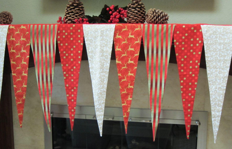 Christmas Fireplace Mantel Scarf.  Christmas Mantel Banner. Custom Christmas Mantel Scarf. Red, Gold & White Mantel Scarf. by shesewsfine2 on Etsy