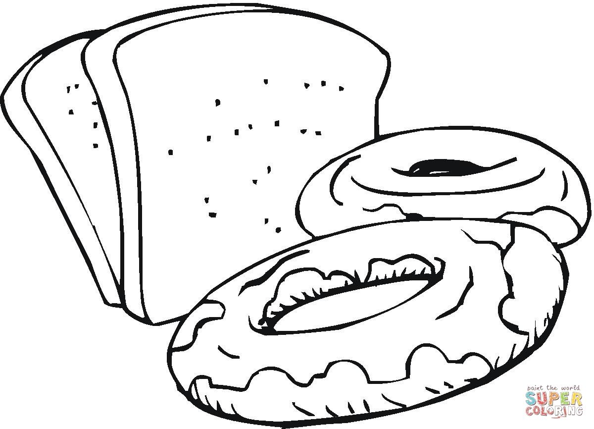 Slices Of Bread And Sweets Coloring Page Coloring Pages Slice Of Bread Food Coloring