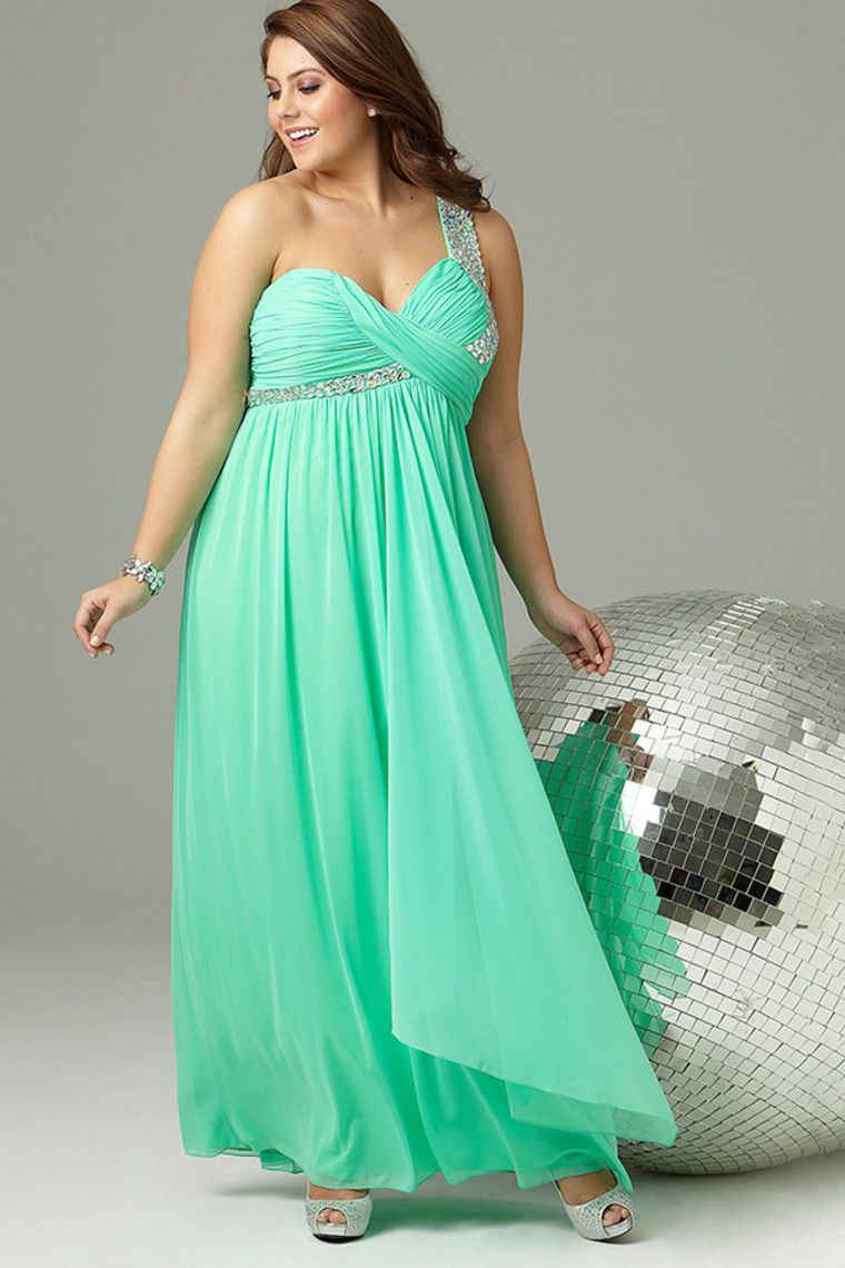 Plus Size Long Prom Dress With One Shoulder Strap With ...