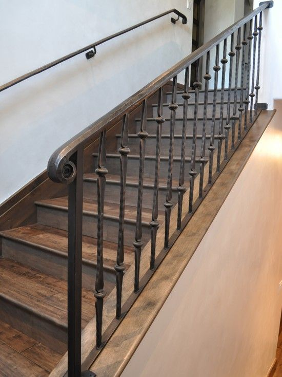 Wrought Iron Spindles Design Ideas Pictures Remodel And Decor | Wrought Iron And Wood Stair Railing | Decorative | Iron Rail | Stairway | Wood Cap | Hand
