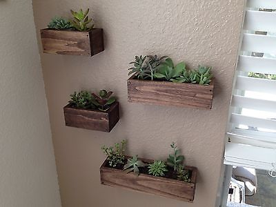 Set Of 4 Handcrafted Wooden Wall Planters 3 Sizes Succulents Herbs Plants