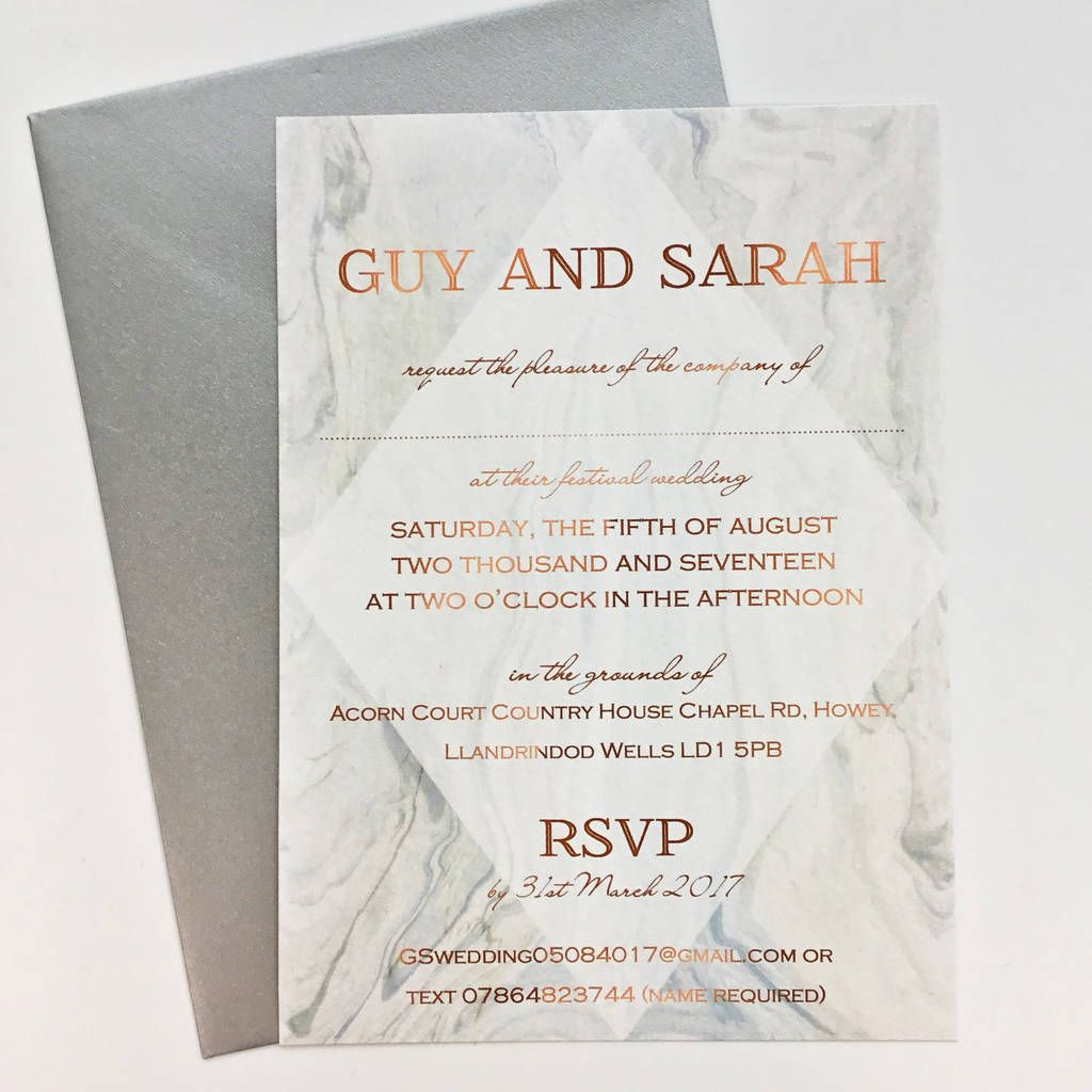 Grey Marble And Copper Wedding Invitation | Rose gold weddings, Gold ...