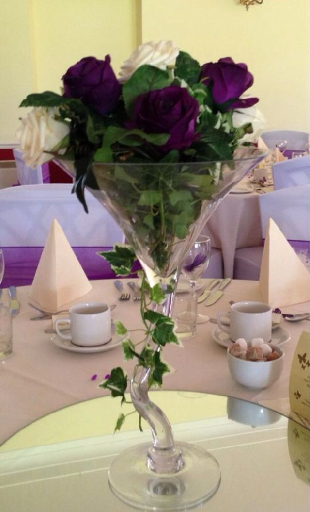 wedding chair cover hire bournemouth hanging hammock outdoor martini glass centrepiece centrepieces