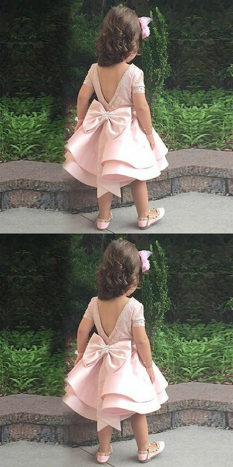 Aline bateau short sleeves pink satin bow flower girl dress with