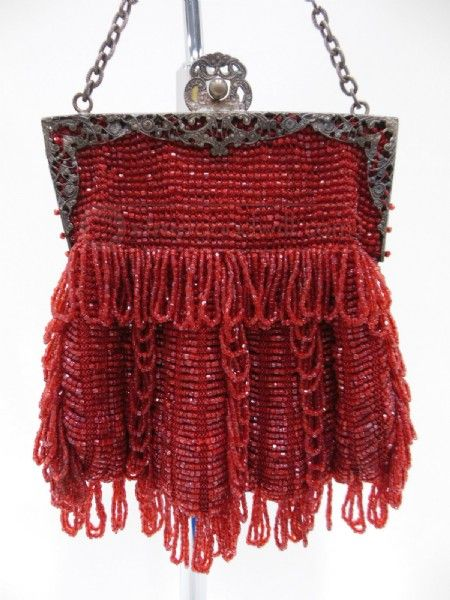 shopgoodwill.com: Vintage Red Beaded Frame Purse Sold for $52.99