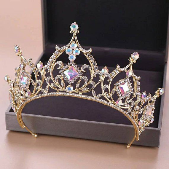 Wedding Tiara, Baroque Luxury Rhinestone Bridal Crown Tiaras Gold Crystal Diadem for Bride Headbands #crowntiara