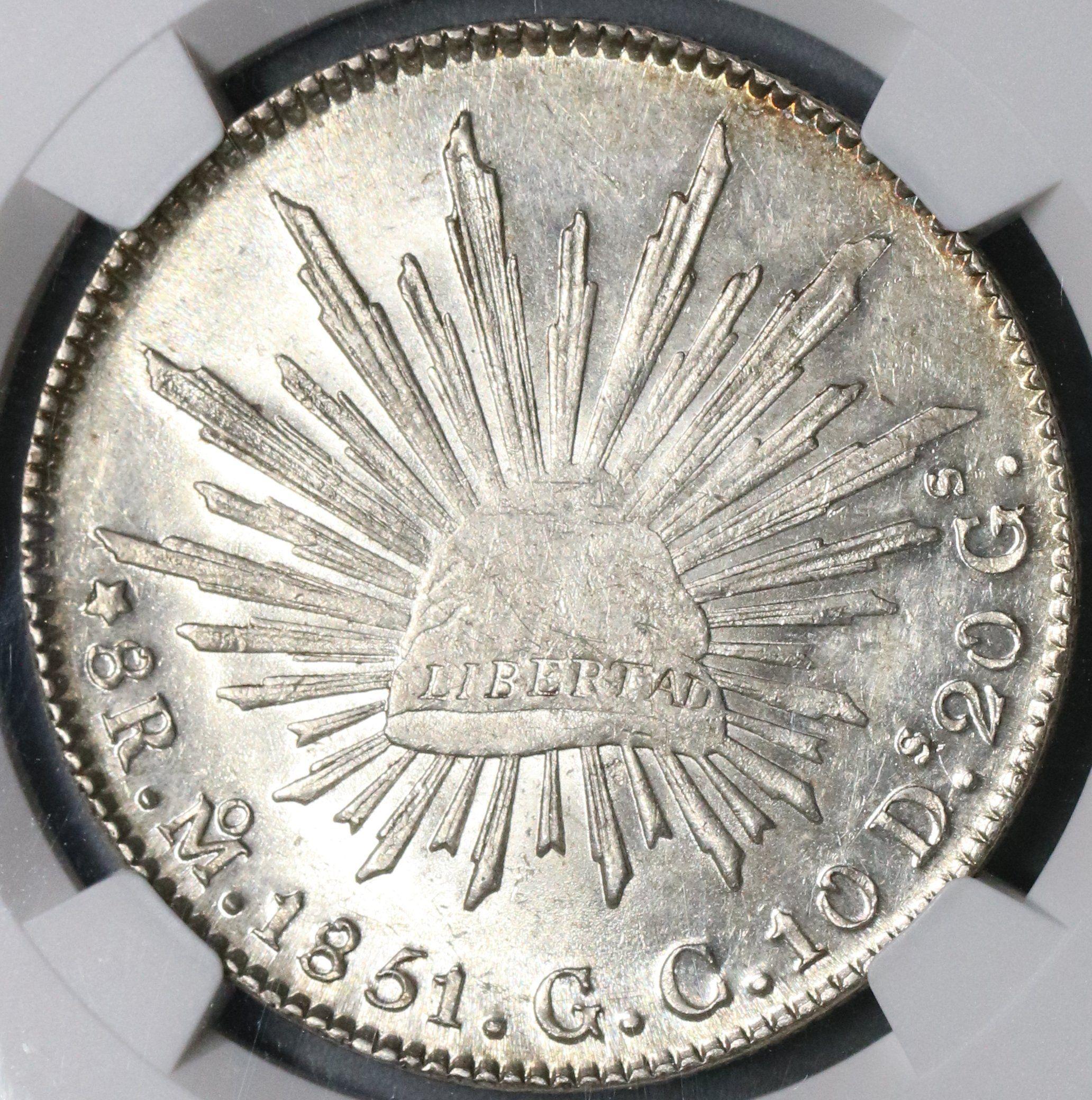 1851 Mo Ngc Ms 62 Mexico 8 Reales Silver Coin Rare Grade Pop 2 3 18090505c Monedas Moneda Mexicana Joyas