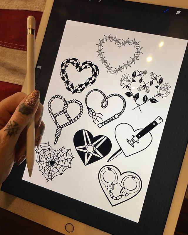 Progress On My Tough Love Themed Tattoo Flash For Valentines Day