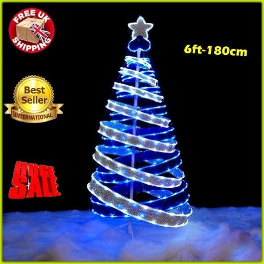 pre lit pop up christmas tree 6ft ribbon folded xmas led lights holiday decor uk - Pop Up Decorated Christmas Tree