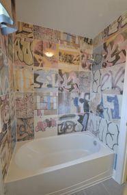 Graffiti Tile Bansky 175x175 Boys bathroom Pinterest