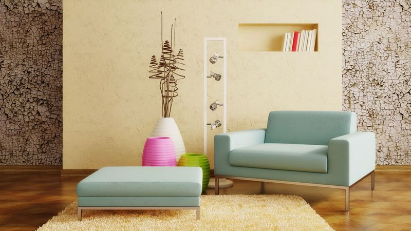 Light Blue Sofa in Modern Living Room with Colorful Vases as