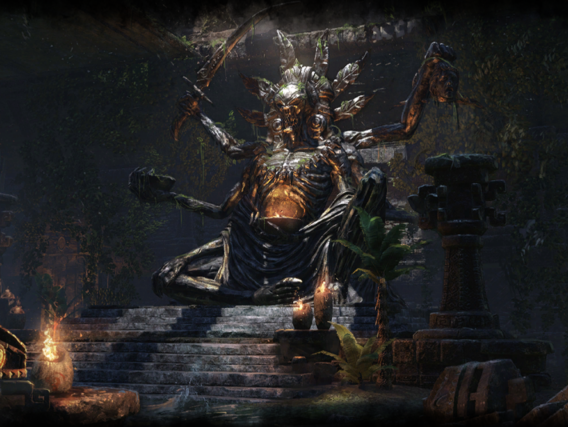 """eslore: """"An Argonian statue of Sithis residing in a Black Marsh Dark"""
