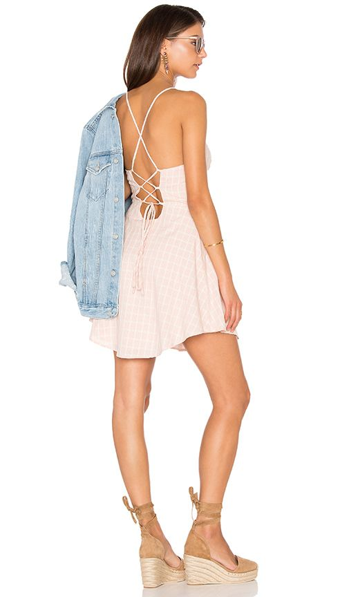 Lucca Couture Lace-Up Back Dress in Tea Rose Gingham Plaid