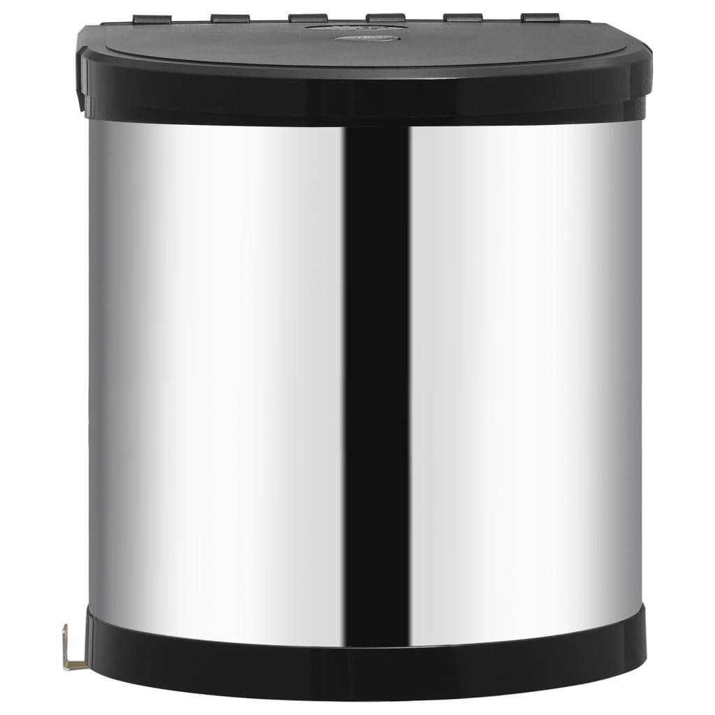 vidaXL Kitchen Cabinet Trash 12 Liter Stainless …