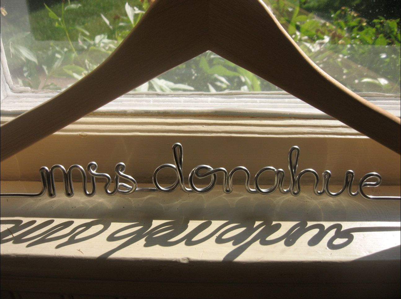 Wedding Hanger Personalized Custom Name For Bridal Dress Black Wood Or Dark Walnut Sturst Wire Out There