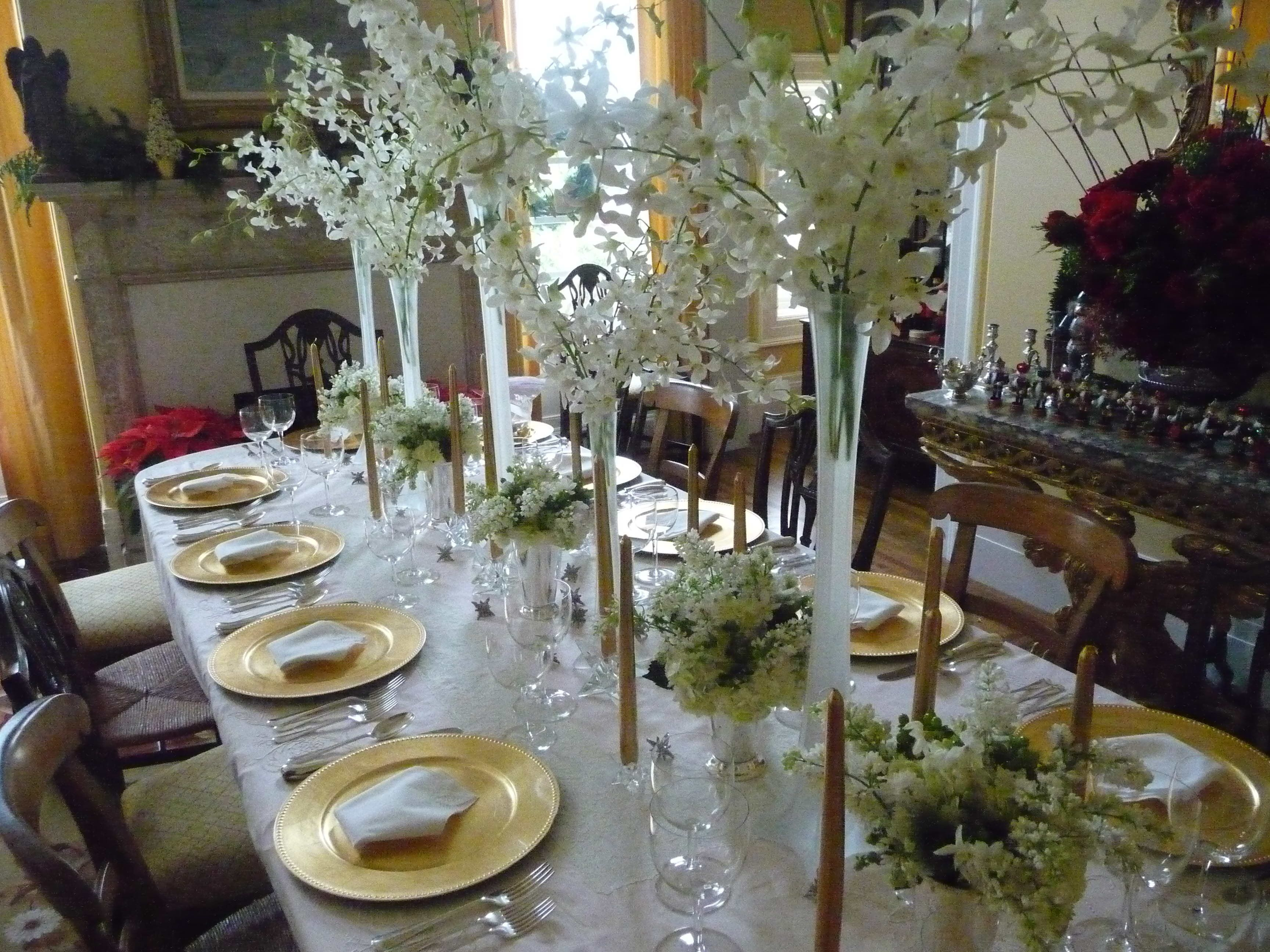Candle Centerpieces For Christmas Pretty White S Ideas With High Frosted Flowers Vases And Orchid Dining Room